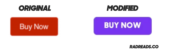"""A red """"buy"""" button and purple one."""