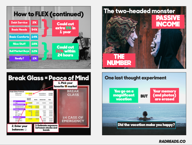 Four keynote slides emphasizing design (and including spreadsheets)