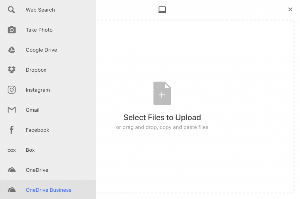 Airtable uploads natively with Dropbox, OneDrive, Box and Google Drive