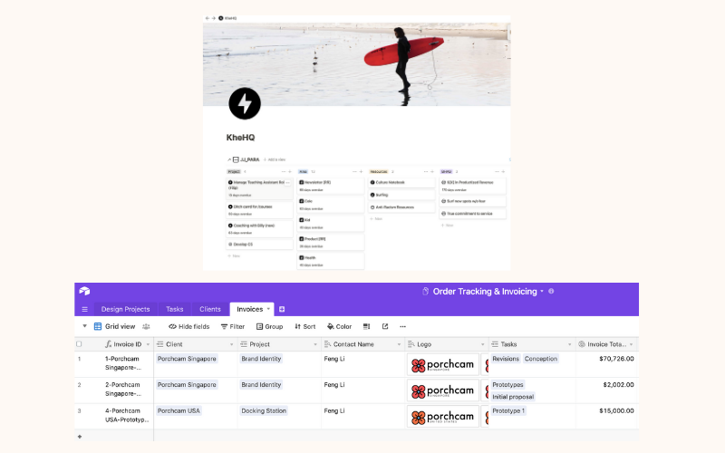 A Notion dashboard and Airtable invoice management system