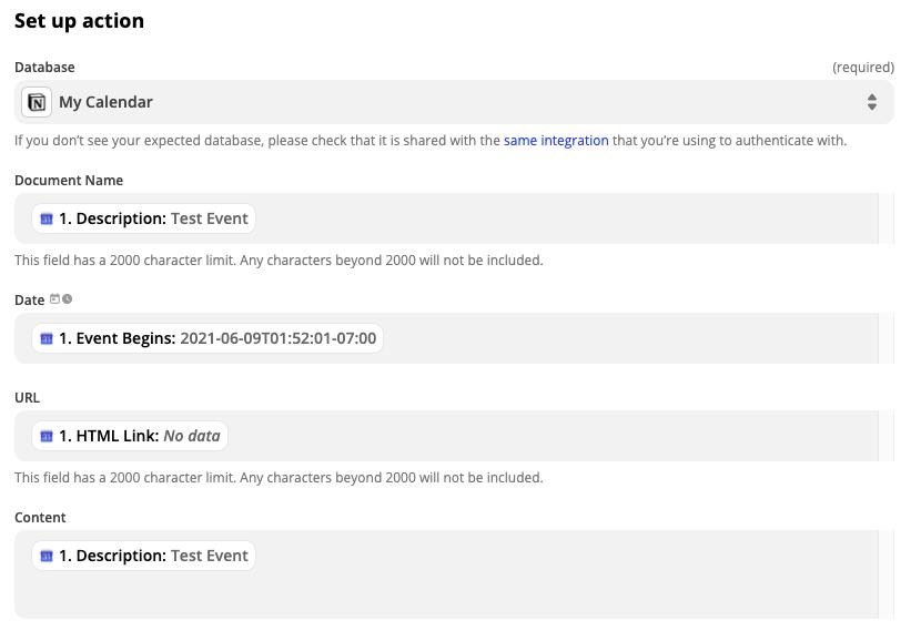 Calendar to Notion API Trigger
